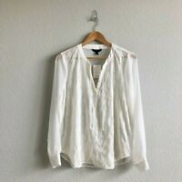 New Banana Republic Women's Blouse Ivory Sheer Split V Blouse - Size Medium