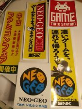 (5) Small Neo Geo, G-Mantle, Taito, Famicon, Neo Geo Cd banner vinyl stickers.