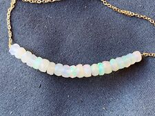 """opal gemstone bracelet rare wire wrap chain 7"""" layer stack real gems 18k gold"""