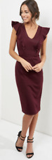 New Look Women's Burgundy V Neck Frill Trim Pencil Dress Size Uk 12 LS171 NN 06