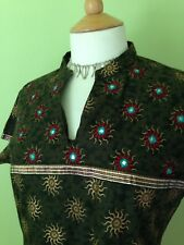 Hippy Boho Sun Print Brown Gold Embroidered Indian Cotton Tunic Dress M 10 12