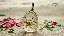 Dried flower resin teardrop white pendant silver jewellery supplies C655