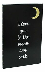 To The Moon and Back Gold Typography Modern Black White Wall Art