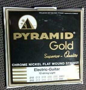 THE BEST- PYRAMID GOLD CHROME NICKEL FLAT WOUND STRINGS ELECTRIC 12-STRING LIGHT