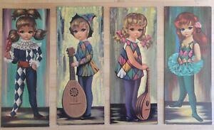 Lot of 4 Vintage GOJI Prints Mid Century Big Eyes Harlequin Children Litho 1965