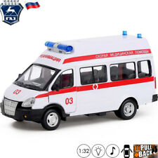 Model Car Scale 1:32 Minibus GAZelle 3221 Russian Ambulance Toy With Light/Sound