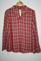 Women's Office Red Mix Check Long Sleeve Key-hole Choker Shirt Top Blouse Size M