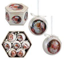 Christmas Tree Decoration - Box of 14 Baubles - 75mm - Traditional Santa