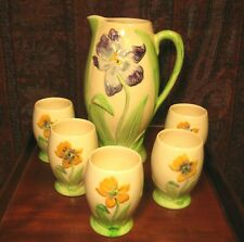 VINTAGE ART DECO MAJOLICA LEMONADE SET YELLOW WITH IRISES SHORTER & SON C1930's