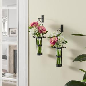 Rustic Black Metal Wall Mount Hanging Glass Cylinder Decorative Vases