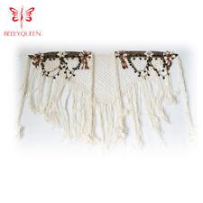 Belly Dance Tribal Hip Scarf White Tassel Belt for Tribal Style Handmade Skirt