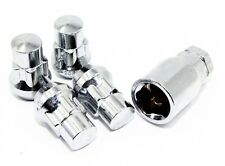 "4 Chrome Acorn Bulge Wheel Lug Nut Locks W/ Key 12x1.5 1.4"" Cone Seat"