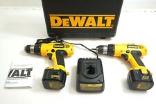 2 DEWALT 12V DW972 CORDLESS DRILLS WITH 2 BATTERIES, CASE, CHARGER AND PAPERWORK