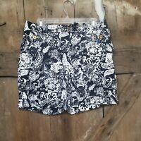 Ralph Lauren Bermuda Navy White Shorts Size 8 floral graphic stretch pockets
