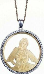 Ciondolo donna in argento e oro 18 Kt con zirconi e incisione abbazia florense