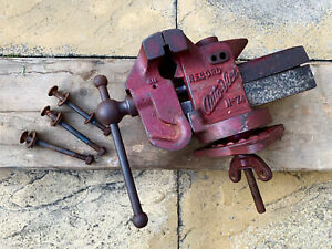 """Vintage Record No.74 Auto Vice Motor Engineers Vice 4"""" Jaws Swivel Base Anvil"""