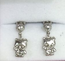 18k Solid White Gold Hello Kitty Dangle Stud Earrings, Diamond Cut1.72Grams