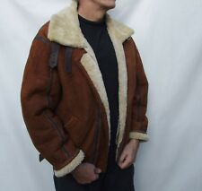 Vintage B3 Aviator Suede Leather Sheepskin shearling Flying Bomber Jacket  XL