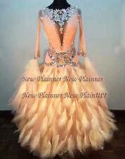 B712 Ballroom smooth swing  Waltz Tango  Rhythm us 6 Dance Dress feather