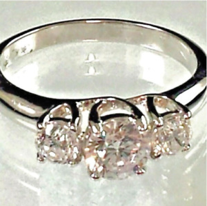 Ladies Silver Plated Engagement Ring 3 Stones Cubic Zirconia Sizes  5 10 11