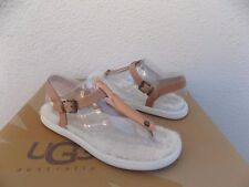 UGG LOU LOU ROSE GOLD SHEEPSKIN FLUFFIE T-STRAP SANDALS, US 8/ EUR 39 ~NIB