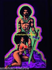 African Man and Woman Afro Sword Warrior Psychedelic Art Blacklight Poster