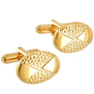 """Gold Tone Cufflinks Mens New Hammered Golf Ball Dots Made In USA Boxed 3/4"""""""