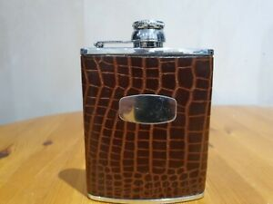 """British """"Hip Flask"""" - Stainless Steel and patterned sleeve"""