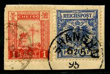 1895 Chefoo 1ct tied on piece with German 20pf