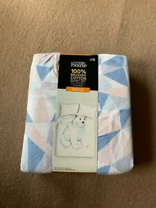 POLAR BEAR 100% BRUSHED COTTON SINGLE BED DUVET SET WITH 1 PILLOW CASE BY GEORGE