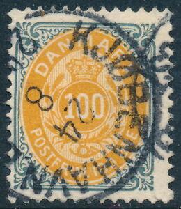 Denmark Scott 52/AFA 31B, 100ø grey/yellow Bicolour, Fine sound used