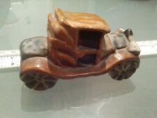 "Tremar Cornish Pottery miniature vintage car 2 seater sedan soft top 3"" long."