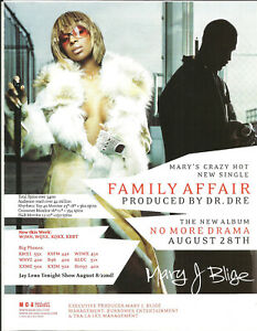 MARY J BLIGE Ultra Rare 2001 Family PROMO TRADE AD Poster for Drama CD MINT USA