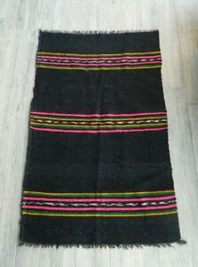 Vintage Anatolian Small Rug 2x4 ft Authentic Handwoven Wool Oriental Black Kilim