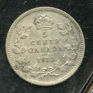 1910 Canada 5 Cents Silver Coin - ICCS VF-30 - Round Leaves