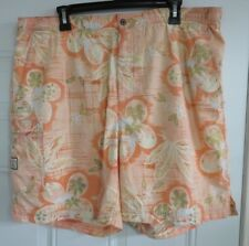 Tommy Bahama Swim Trunks Size Large L 100% Nylon Shorts Orange Floral Bungalow