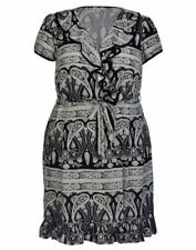 Viscose V-Neck Paisley Dresses for Women