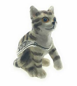 Kubla Crafts Enameled Tiger Stripped Kitten Mini Trinket Box, Accented with...