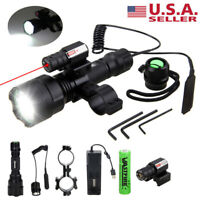 Tactical LED Flashlight Combo Red Laser Sight Scope Mount for 11/20mm Rail Rifle
