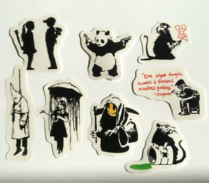 Banksy Sticker Set on CLEAR Vinyl Decal Pack Car Street Art Graffiti Panda Skate
