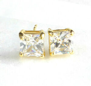 Men 14K Yellow Gold Plated 7mm Square Clear Simulated Diamond 2 Stud Earrings UK