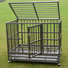 "48"" Metal Pet Dog Cage Crate Kennel Heavy Duty Tray Wheels Folding Portable New"