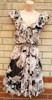 NEXT PINK BROWN NUDE ABSTRACT FLORAL RUFFLE FRILL BELTED A LINE SKATER DRESS 18