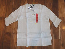NWT Womens ELLEN TRACY Sandstone Lace Front 3/4 Sleeve Linen Blouse Shirt Small