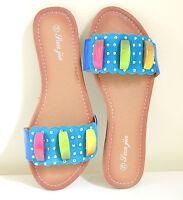 INFRADITO AZZURRI donna sandali ciabatte basse celesti turchesi oro estive E55