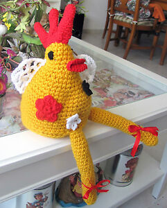 Crocheted Rooster Doll Special  Handmade Soft Toy Decor Directly From The Artist