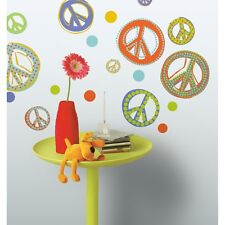 26 New Orange Purple Green PEACE SIGNS WALL DECALS Girls Bedroom Stickers Decor