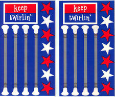 *BATONS* Frances Meyer  STICKERS 2 Sheets Twirlin' R-W-B MAJORETTE Marching Band