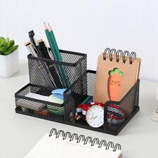 Mesh Desk Organizer Storage Pen Holder With 3 Compartment Office School Supply
