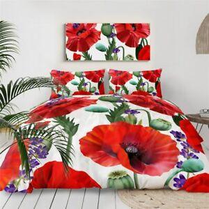 Flower Poppy Lavender Floral King Queen Twin Quilt Duvet Pillow Cover Bed Set